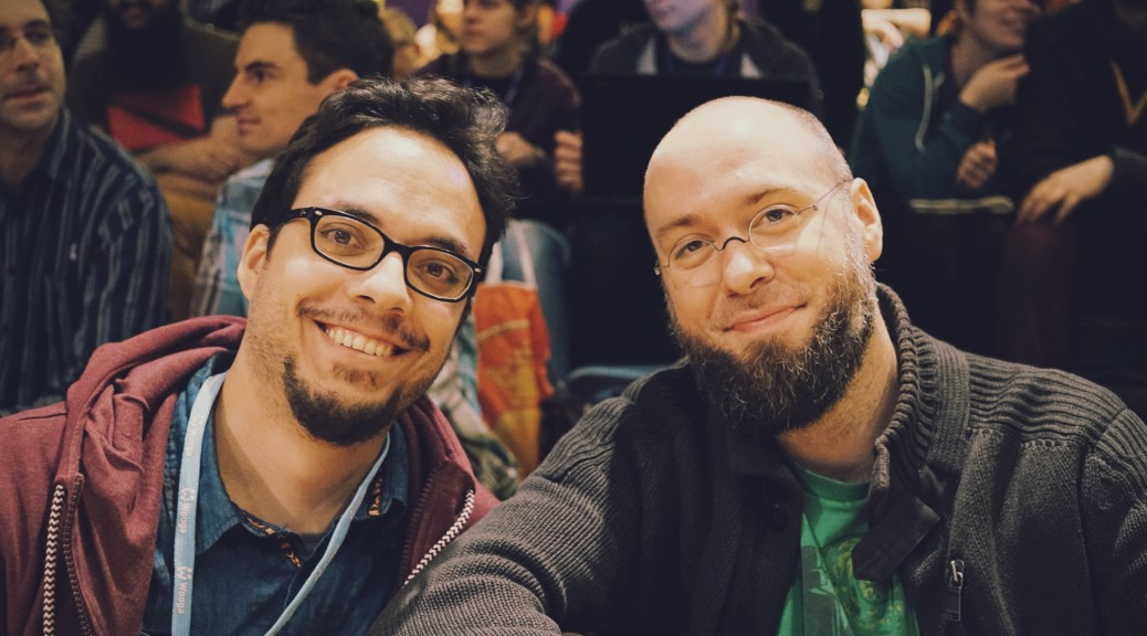 Riad Djemili and Johannes Kristmann at the Global Game Jam Berlin 2015. Picture by Lorenzo Pilia.
